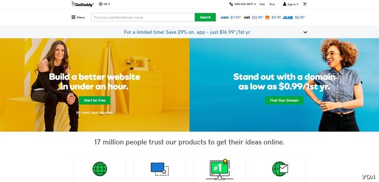 A portion of the GoDaddy.com home page.
