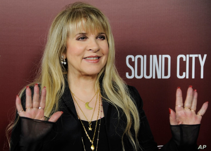 "Singer Stevie Nicks waves to photographers at the premiere of the documentary film ""Sound City"", Jan. 31, 2013 in Los Angeles."