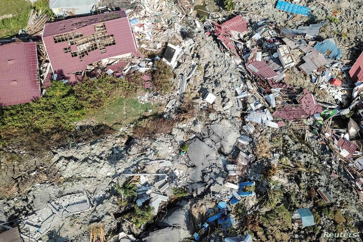 An aerial view of Petobo sub-district following an earthquake in Palu, Central Sulawesi, Indonesia, Oct. 2, 2018 in this photo taken by Antara Foto.