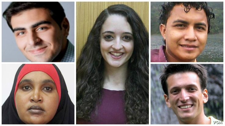 The U.S. State Department's Global Emerging Young Leaders Award winners are, clockwise, from top left, Basel Almadhoun, Hillary Briffa, Jessel Recinos Fernandez, Samuel Grzybowski and Asha Hassan.