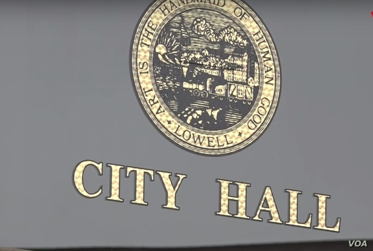 Nine members of the city councilors are overseeing the City Hall of Lowell, Massachusetts.
