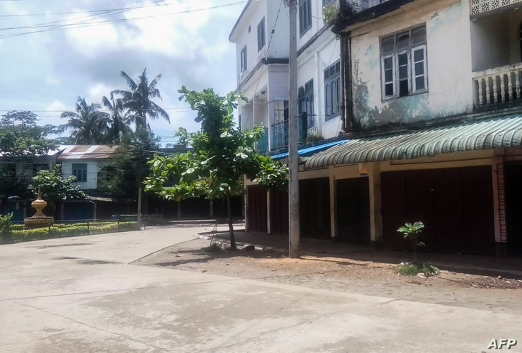 This photo shows an empty street of Maungdaw township, in Myanmar's northern Rakhine state on August 25, 2017 after residents were told to stay in their homes by authorities.