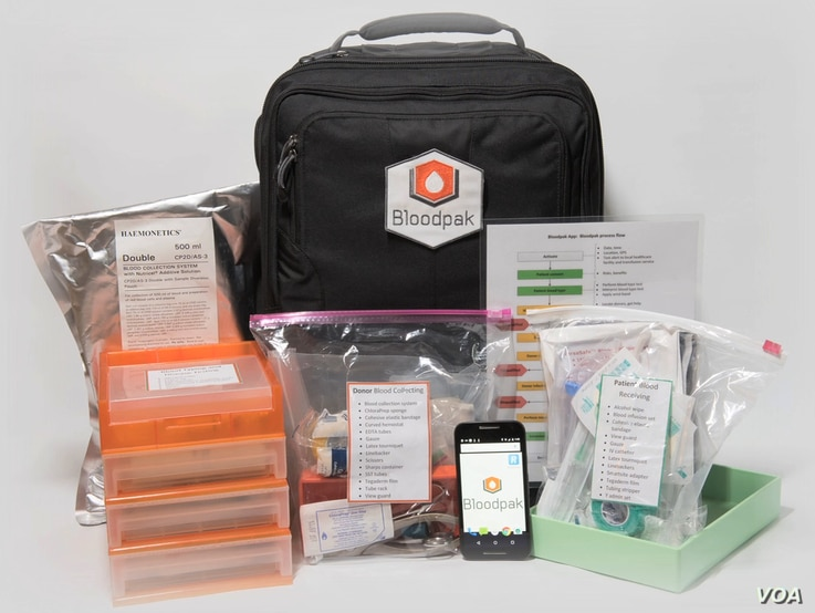 The Bloodpak contains everything a clinic worker needs to safely collect and administer blood.