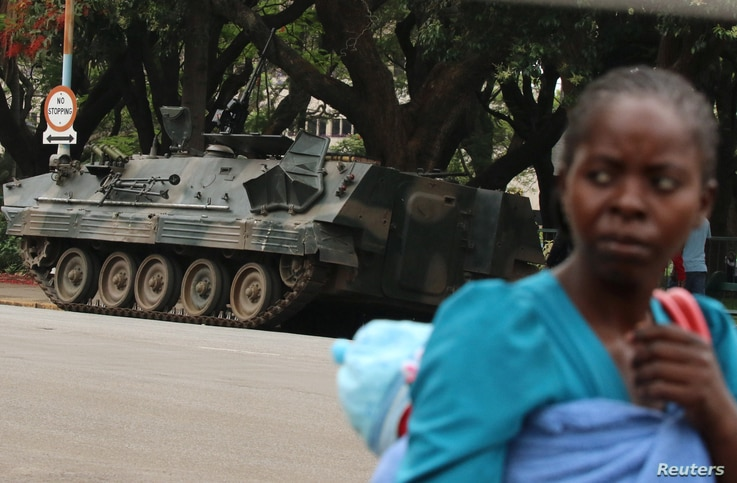 Armored vehicle is seen outside the parliament in Harare, Zimbabwe, Nov. 16, 2017.