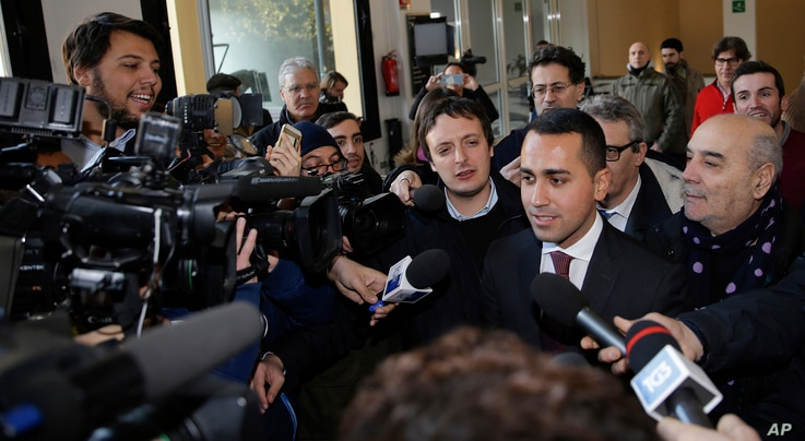 5-Star Movement lawmaker Luigi Di Maio attends the 'Tourism 2030' convention Milan, Italy, Wednesday, Dec. 20, 2017.