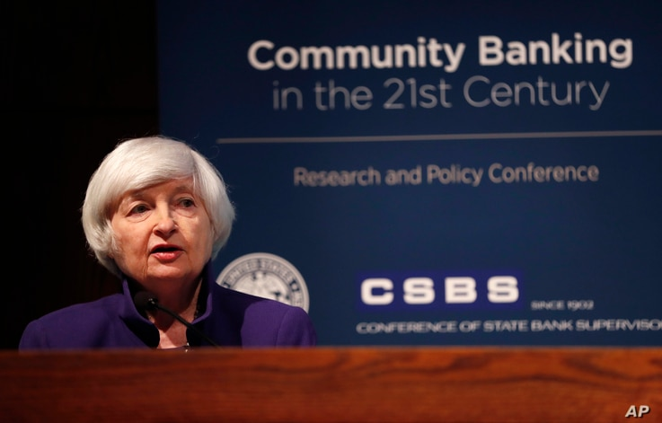 Federal Reserve Chair Janet Yellen delivers opening remarks during a community banking conference, Oct. 4, 2017, at the Federal Reserve Bank of St. Louis.