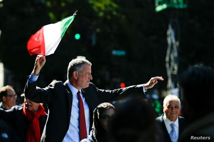FILE - New York Mayor Bill de Blasio takes part in the 72nd Annual Columbus Day Parade in New York, Oct. 10, 2016.