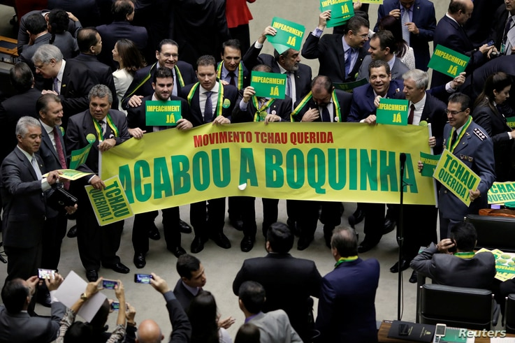 Lower house members who support the impeachment demonstrate during a session to review the request for Brazilian President Dilma Rousseff's impeachment, at the Chamber of Deputies in Brasilia, Brazil, April 15, 2016.