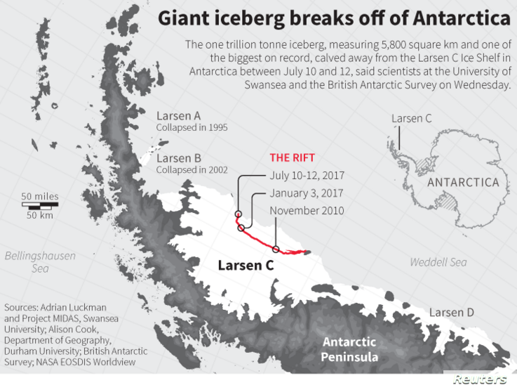 Map showing the rift in the Larsen C ice shelf that led to the calving of an iceberg on the Antarctic Peninsula.