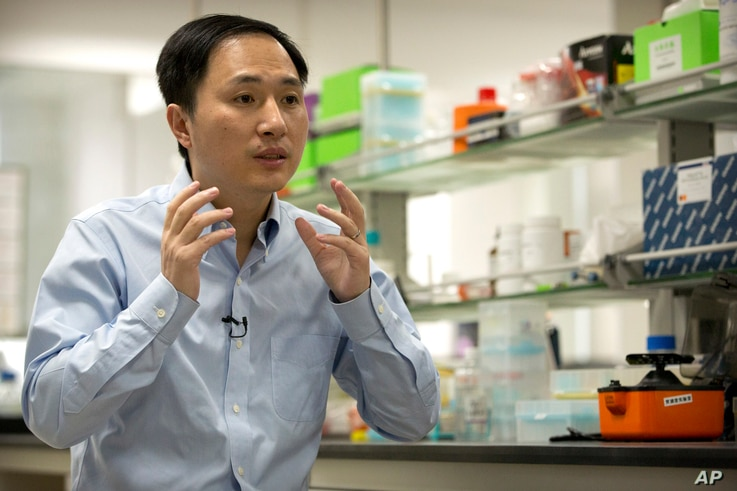 FILE - He Jiankui speaks during an interview at a laboratory in Shenzhen in southern China's Guangdong province, Oct. 10, 2018.