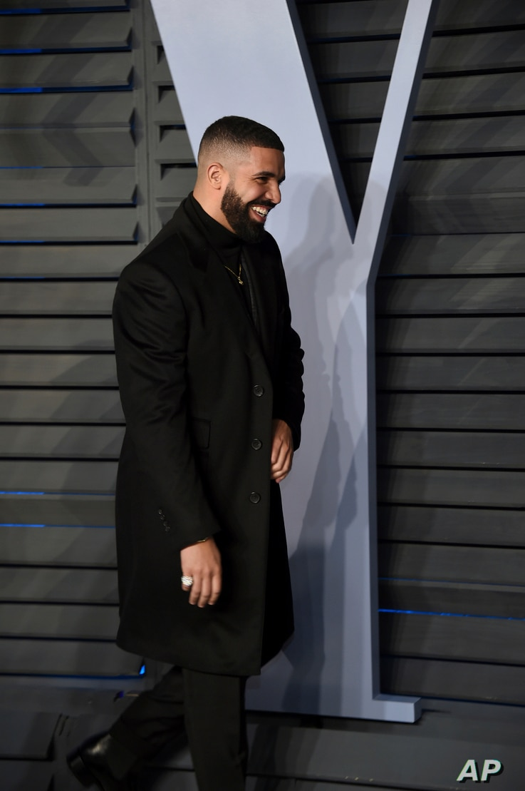 Drake arrives at the Vanity Fair Oscar Party on March 4, 2018, in Beverly Hills, Calif.