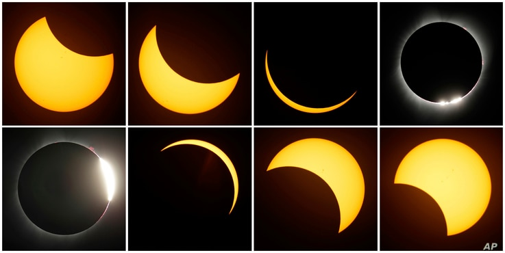 This eight-picture combo shows the path of the sun during a total eclipse by the moon Aug. 21, 2017, near Redmond, Ore.