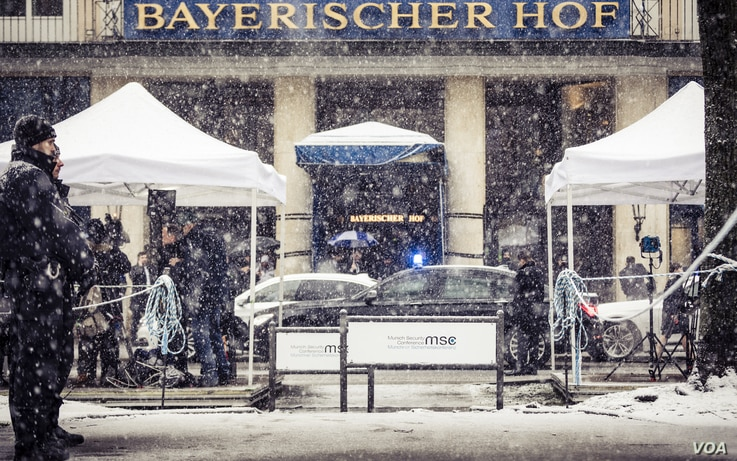 The Bayerischer Hof hotel, the venue for the Munich Security Conference, Feb. 16-18, 2018, in Germany.