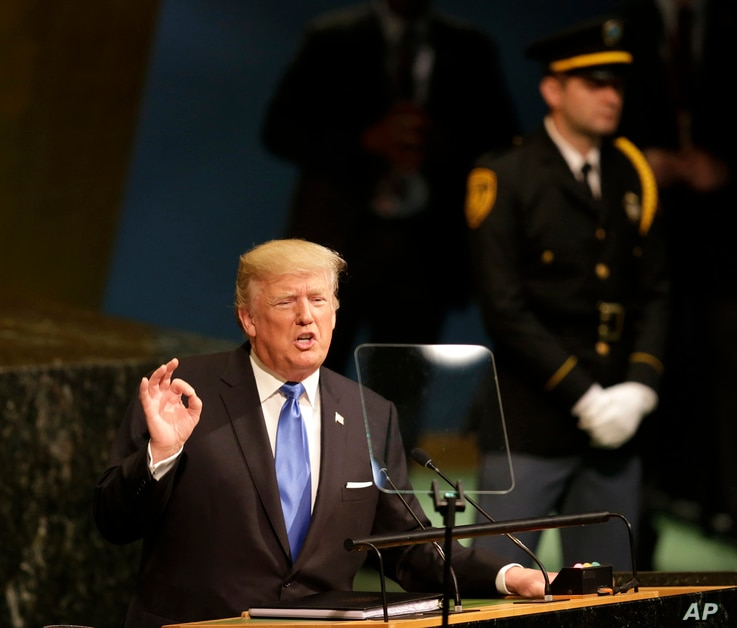 United States President Donald Trump speaks during the United Nations General Assembly at U.N. headquarters, Sept. 19, 2017.