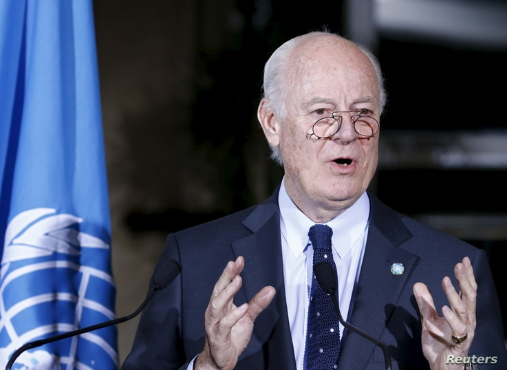U.N. mediator Staffan de Mistura attends a news conference after a meeting with the High Negotiations Committee (HNC) during Syria Peace talks at the United Nations in Geneva, Switzerland, April 13, 2016.