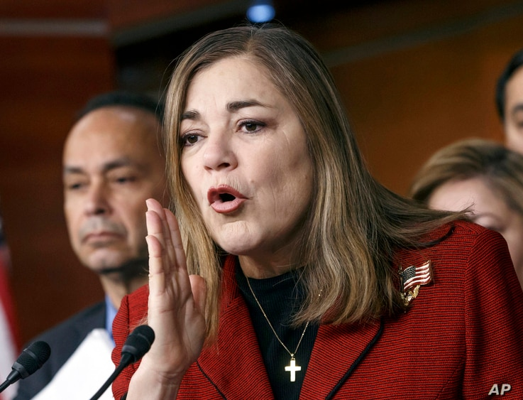 FILE - U.S. Rep. Loretta Sanchez, a California Democrat, pictured at a Capitol Hill news conference in February 2015, says small-business owners often find it financially difficult to offer paid family leave.