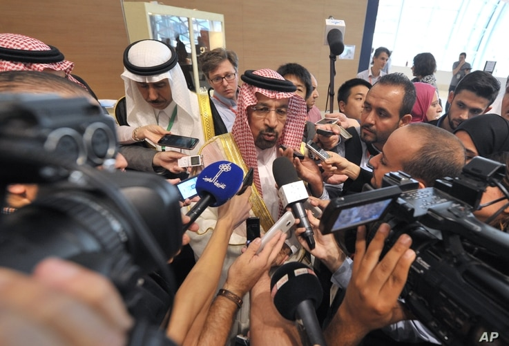 Khalid al-Falih Minister of Energy, Industry and Mineral Resources of Saudi Arabia answers questions as part of the 15th International Energy Forum Ministerial meeting in Algiers, Algeria, Sept. 27, 2016.