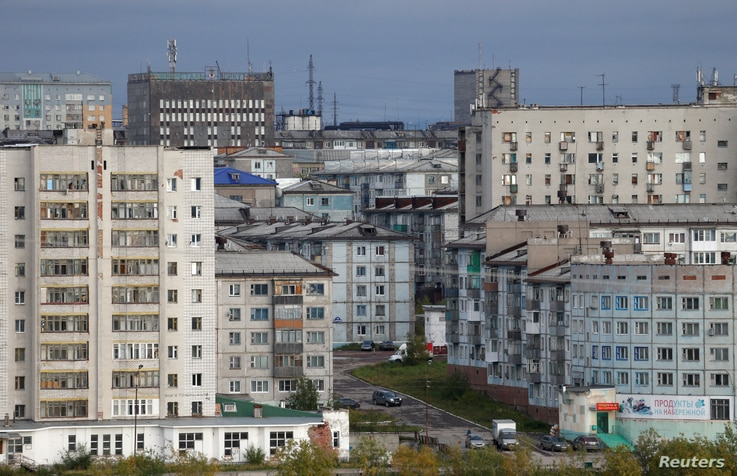 FILE - A general view shows the far northern city of Vorkuta, Russia, Sept. 16, 2018.