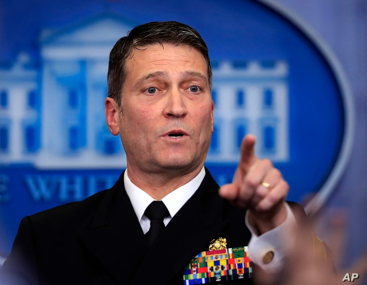 White House physician Dr. Ronny Jackson calls on a reporter during the daily press briefing at the White House, in Washington, Jan. 16, 2018.