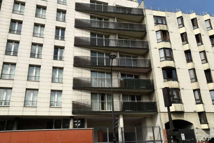 This picture taken on May 28, 2018 shows the facade of a building in Paris scaled by Mamoudou Gassama from Mali to save a 4-year-old child dangling from a fifth-floor balcony.