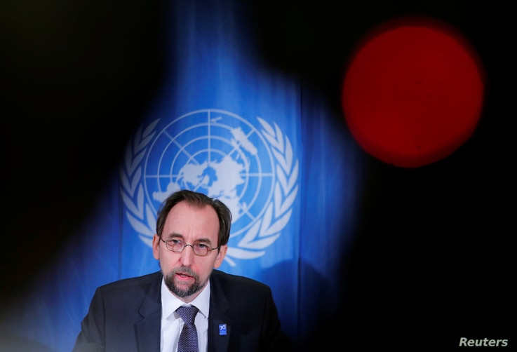 Zeid Ra'ad al-Hussein, U.N. High Commissioner for Human Rights addresses a news conference at the United Nations in Geneva, Switzerland, March 9, 2018.