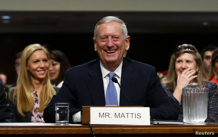 Retired Marine Corps Gen. James Mattis appears before a Senate Armed Services Committee hearing on his nomination to serve as U.S. defense secretary., on Capitol Hill in Washington, Jan. 12, 2017.