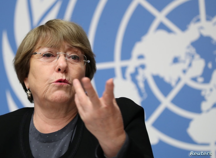 FILE - U.N. High Commissioner for Human Rights Michelle Bachelet speaks at a news conference at the United Nations in Geneva, Switzerland, Dec. 5, 2018.