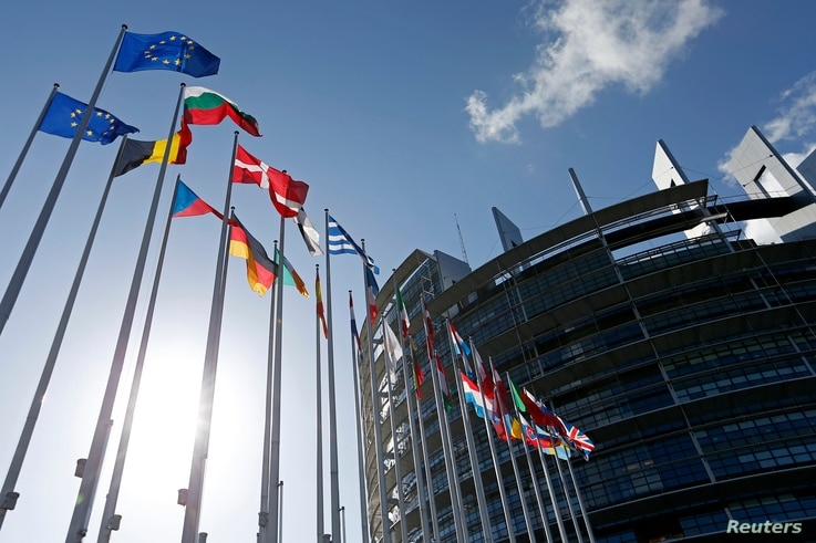 Flags of European Union member states fly in front of the European Parliament building in Strasbourg, France, April 15, 2014.