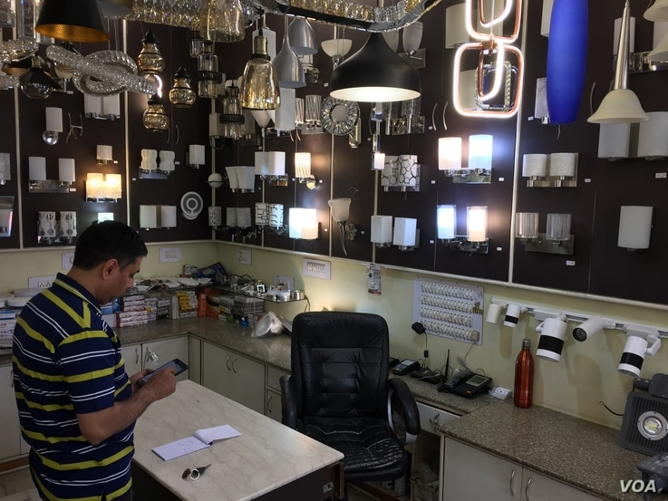 Products such as lights and lamps sold in Indian shops are predominantly Chinese.