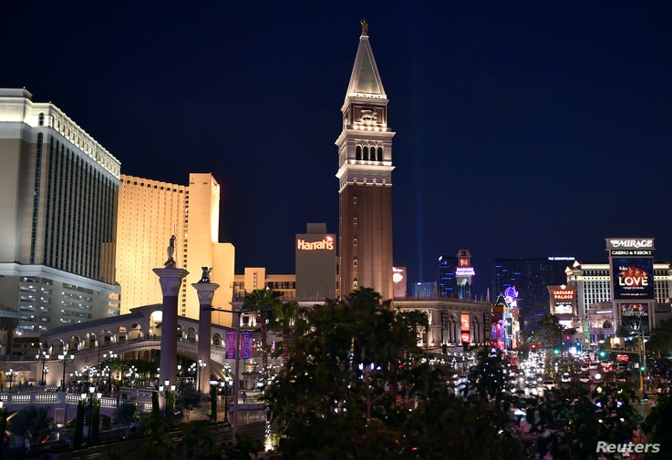 The Venetian tower stands over the Las Vegas Strip in Las Vegas, Nevada.