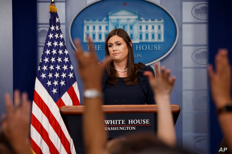 White House Press Secretary Sarah Huckabee Sanders listens to a question during the daily press briefing at the White House in Washington, Aug. 1, 2017.