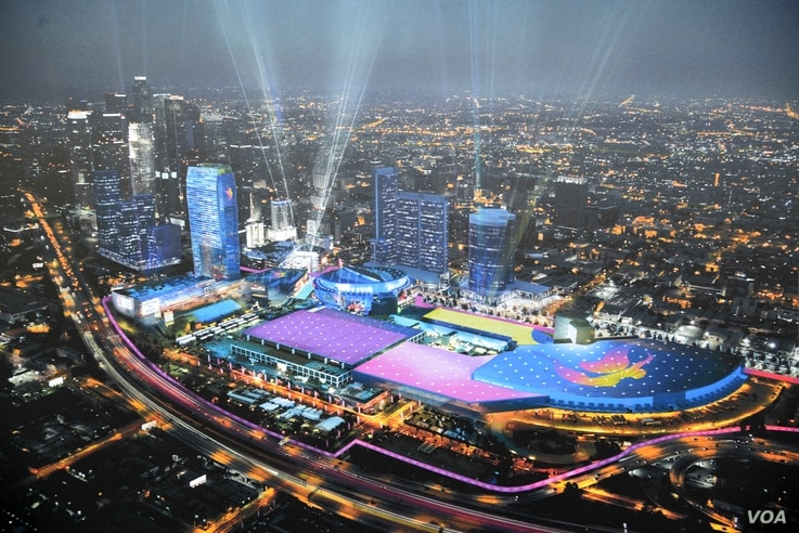 Artist rendering of Downtown Sports Park for the 2024 Los Angeles Olympic Games. (Kirby Lee-USA TODAY Sports)