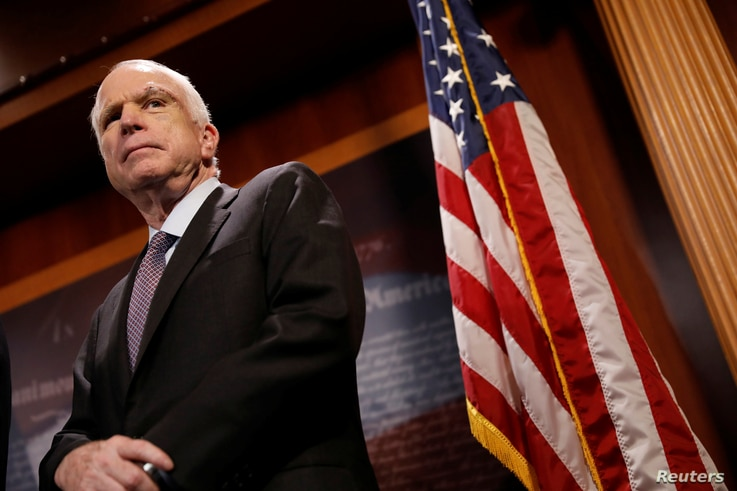 "Senator John McCain looks on during a press conference about his resistance to the so-called ""Skinny Repeal"" of the Affordable Care Act on Capitol Hill in Washington, U.S., July 27, 2017."