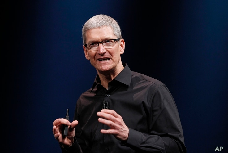 Apple CEO Tim Cook speaks during an Apple event in San Francisco, Sept. 12, 2012.