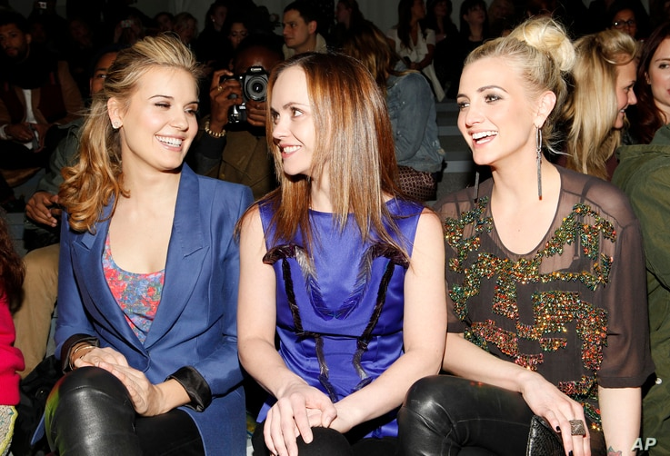 Actresses Maggie Grace, Christina Ricci and Ashlee Simpson are seen at the Richard Chai Fall 2013 fashion show during Mercedes-Benz Fashion Week at The Stage at Lincoln Center on Feb. 7, 2013 in New York City.