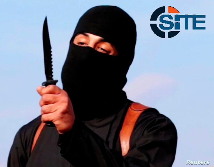 A masked, black-clad militant, who has been identified by the Washington Post newspaper as a Briton named Mohammed Emwazi, brandishes a knife in this still image from a 2014 video obtained from SITE Intel Group February 26, 2015. Investigators believ