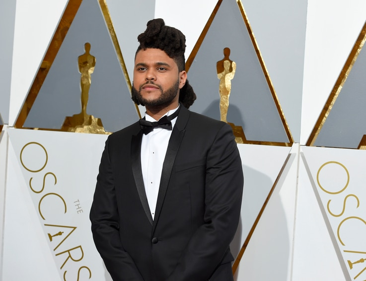 The Weeknd arrives at the Oscars on Feb. 28, 2016, at the Dolby Theatre in Los Angeles.