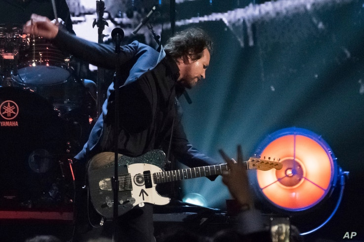 Inductee Eddie Vedder from the band Pearl Jam performs at the 2017 Rock and Roll Hall of Fame induction ceremony.