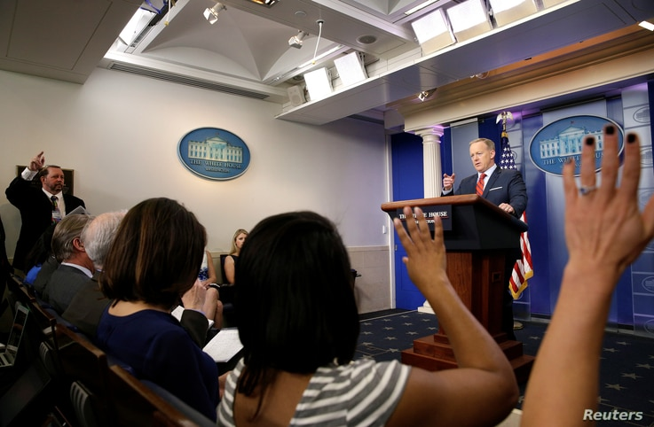 White House press secretary Sean Spicer takes a question during a briefing at the White House in Washington, April 11, 2017.