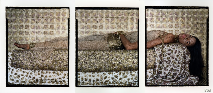 Lalla Essaydi, Bullets Revisited #3, 2012; Triptych, chromogenic prints on aluminum, 150 x 66 in. (Courtesy of the artist, Miller Yezerski Gallery, Boston, and Edwynn Houk Gallery, NYC)