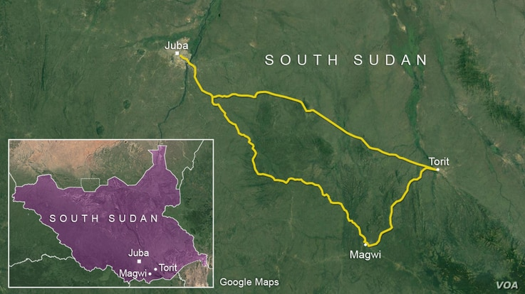 The roads linking Juba, Torit, and Magwi, South Sudan