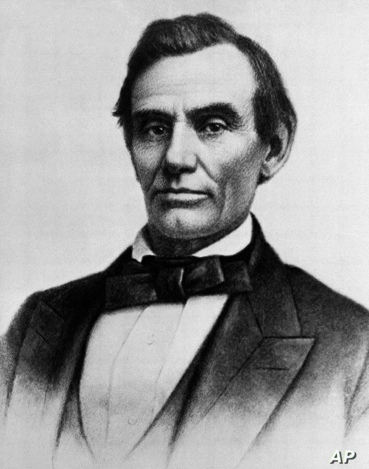 FILE - In this Oct. 1858  photo, President Abraham Lincoln is shown in a photograph by W.A. Thomson, made in Monmouth, Ill., on the day of his debate with Stephen A. Douglas.