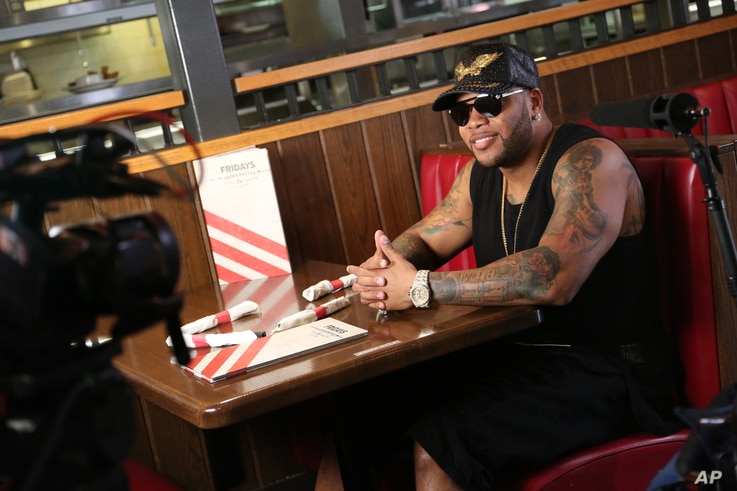 """Flo Rida shot his """"Hello Friday"""" music video at TGI Fridays on Wednesday, March 16, 2016 in Los Angeles."""