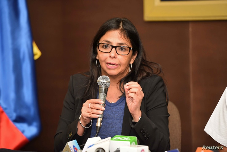 Venezuela's Foreign Minister Delcy Rodriguez speaks during a news conference in Cochabamba, Bolivia, Oct. 28, 2016.