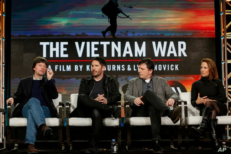 "FILE - In this Sunday, Jan. 15, 2017, file photo, Ken Burns, from left, Trent Reznor, Atticus Ross and Lynn Novick speak at PBS' ""The Vietnam War"" panel at the 2017 Television Critics Association press tour in Pasadena, Calif. The public TV service s..."