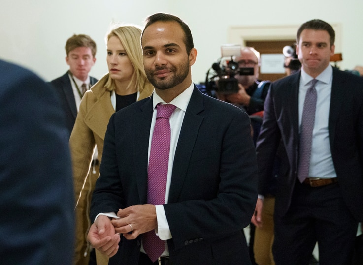 FILE - In this Oct. 25, 2018, file photo, George Papadopoulos, the former Trump campaign adviser who triggered the Russia investigation, arrives for his first appearance before congressional investigators, on Capitol Hill in Washington.