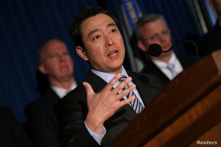 FILE - Joon H. Kim, the Acting United States Attorney for the Southern District of New York, speaks at a news conference in New York City, April 25, 2017.