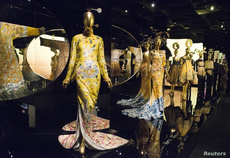 """Selections for the Metropolitan Museum of Art Costume Institute Gala Benefit, """"China: Through the Looking Glass,"""" are seen during a media preview at the Metropolitan Museum of Art in New York, May 4 , 2015."""