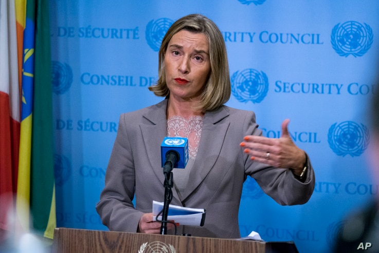 European Union foreign policy chief Federica Mogherini answers questions during a news conference following a European Union-hosted meeting about the Iran nuclear deal at United Nations headquarters, Sept. 20, 2017.