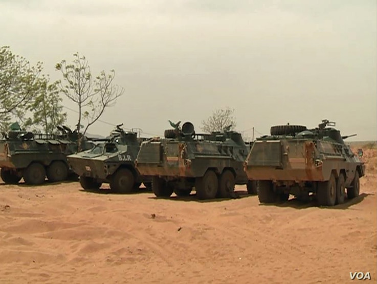 Military vehicles are seen in far northern Cameroon, Jan. 17 2019.